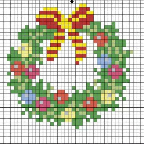 Рисунки по клеточкам новогодние