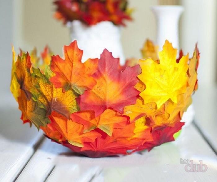 Как сделать декоративную вазу из осенних листьев