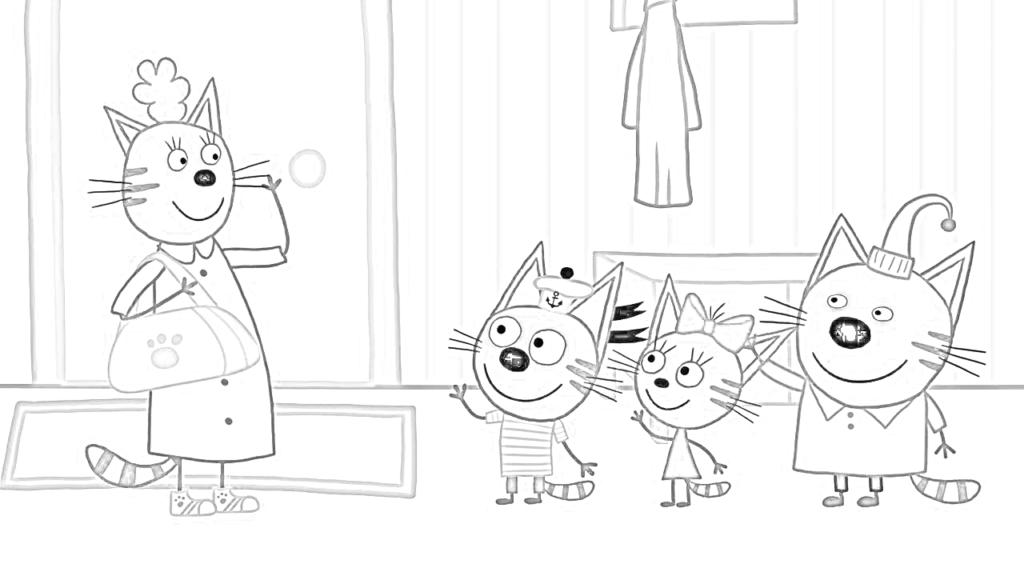 Открытка три кота раскраска, поздравления