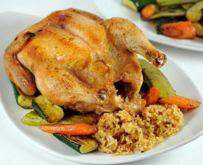 Курица, фаршированная рисом, запеченная в духовке