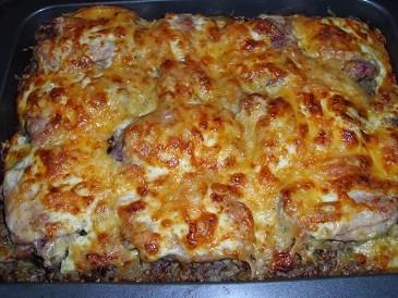 Гречка с курицей под сырной корочкой в духовке