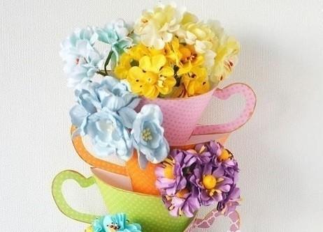 Панно на стену Чашечки с цветами