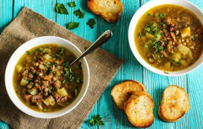 Суп из утки с чечевицей
