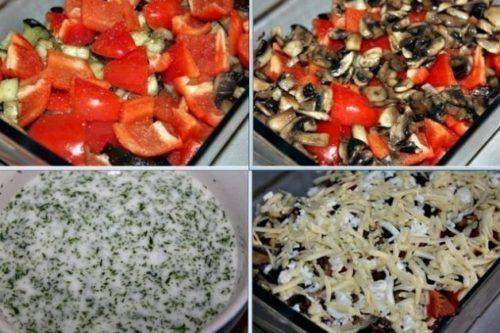 Печеные баклажаны с грибами и перцем