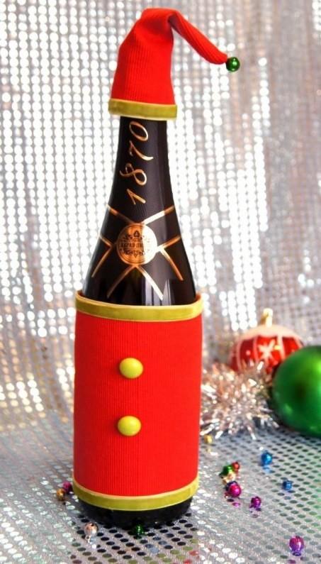 Декор бутылки шампанского к Новому году