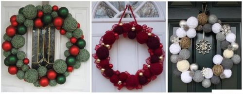 оригинальный новогодний венок для входной двери,используйте клубки ниток и спицы для вязания