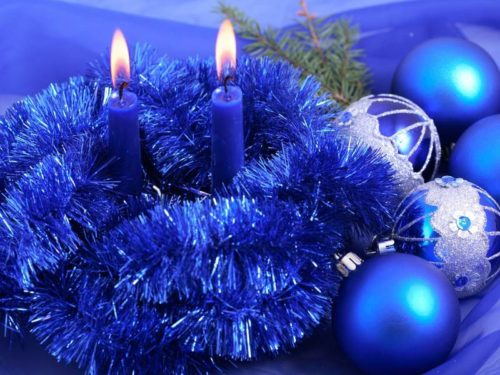 Новогодний декор 2020 года в синем или голубом цвете