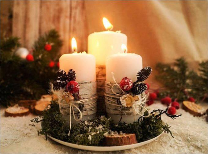 Как сделать новогодние композиции со свечами своими руками