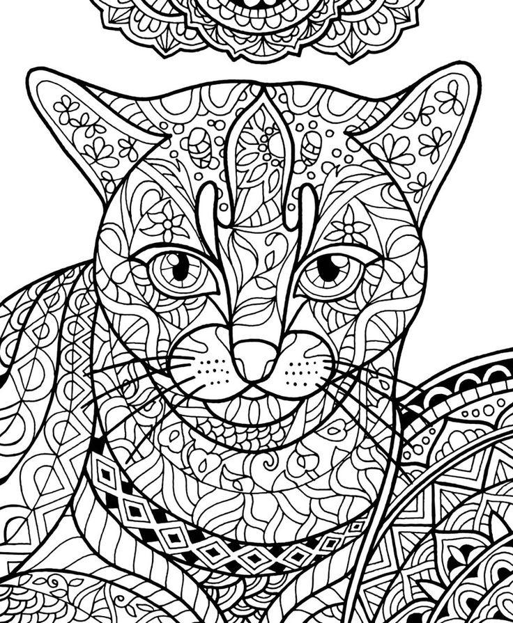 раскраски антистресс кошки готовые картинки залив
