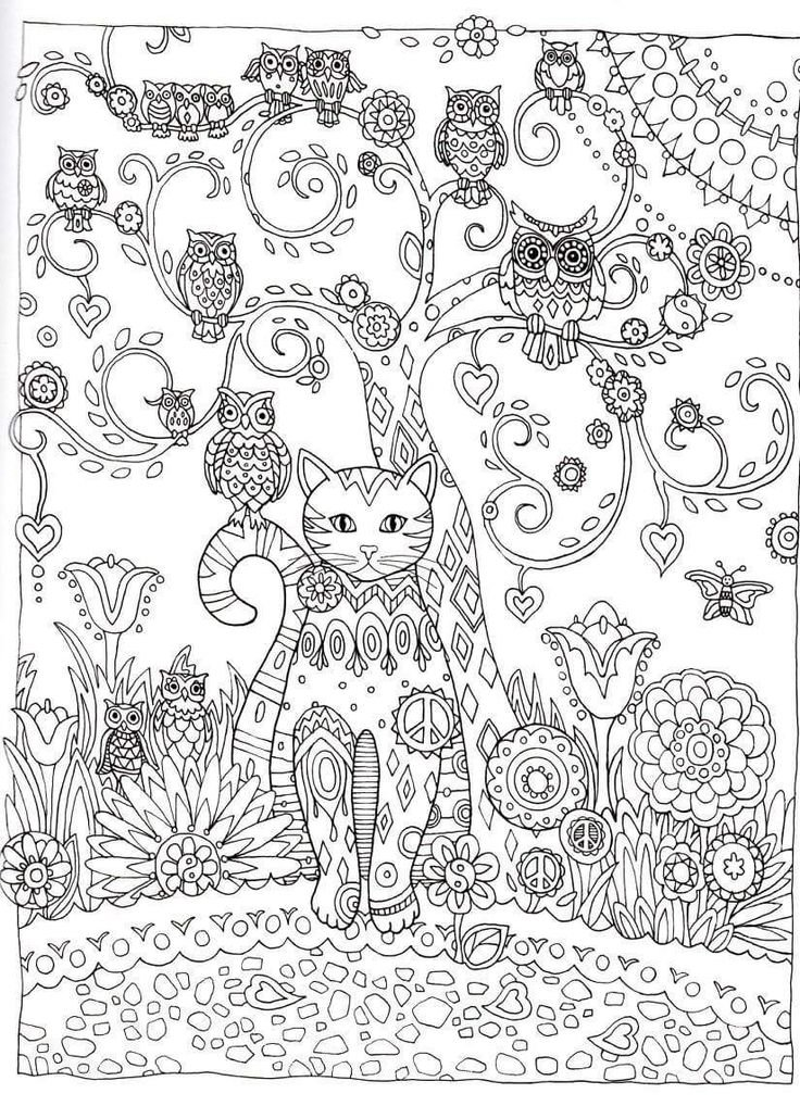 Раскраски антистресс коты