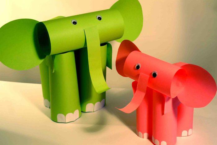 Слоненок из цветной бумаги