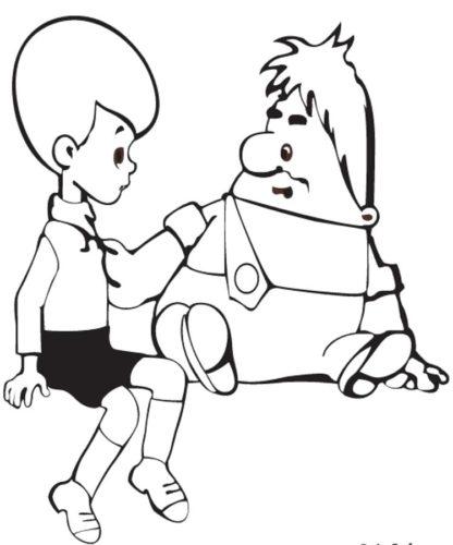 Раскраски Малыш и Карлсон