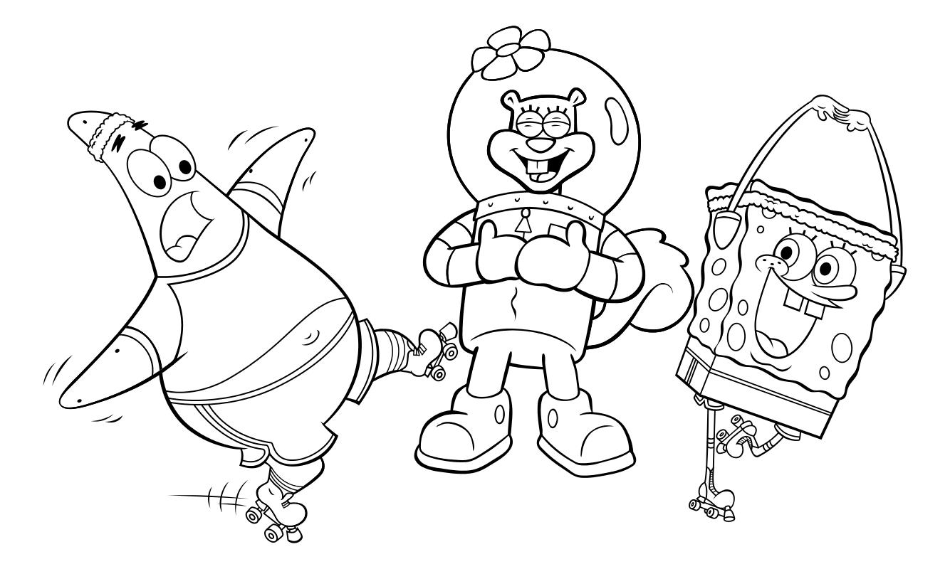 Картинки губка боб и его друзья раскраски